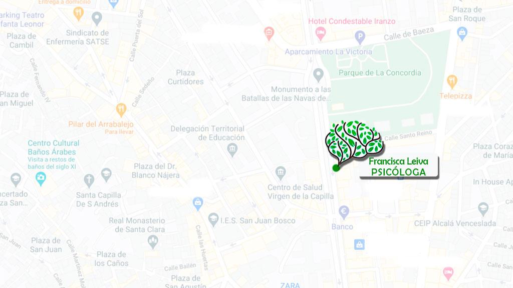 Ubicación en Maps de la consulta de Francisca Leiva, psicóloga en Jaén